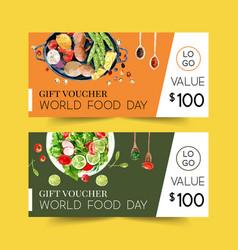 World food day voucher design with salad mushroom vector