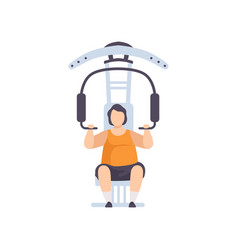 Young fat man flexing muscles on trainer gym vector