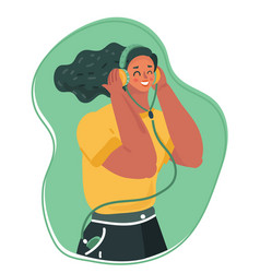 Young woman with closed eyes in headphones vector
