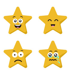 Funny cartoon star character emotions set isolated vector