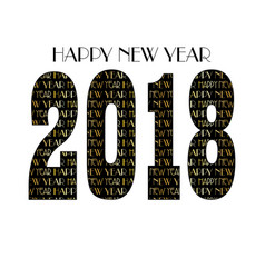 gold black new years eve 2018 typography pattern vector image