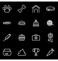 Line pet icon set vector