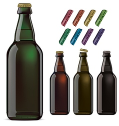 Beer bottles and covers vector image vector image