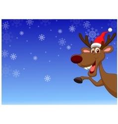Christmas deer waving vector image vector image