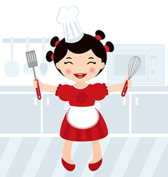 Girl cooking in kitchen vector image vector image