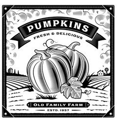 retro pumpkin harvest label with landscape vector image vector image