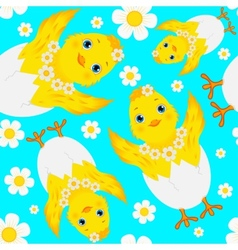 Seamless Pattern with Chicks Eggs and Daisies vector image