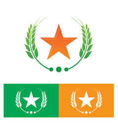 star and laurel wreath logo vector image