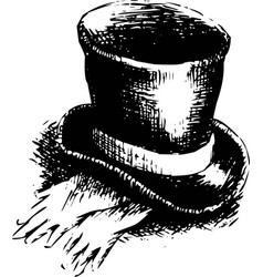 top hat and gloves vector image