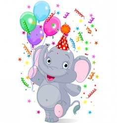 baby elephant birthday vector image vector image