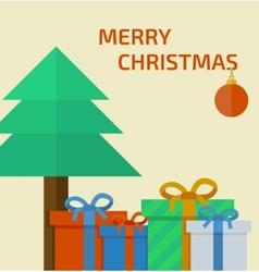 Christmas card with christmas presents vector image