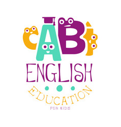 english education for kids logo symbol colorful vector image vector image