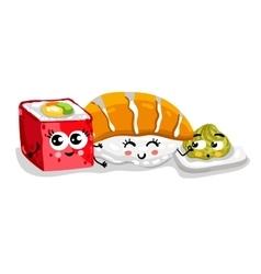 Funny sushi and sashimi set cartoon character vector image