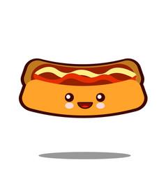 hot-dog cartoon character icon kawaii fast food vector image vector image