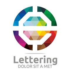 Lettering e rainbow alphabet design vector