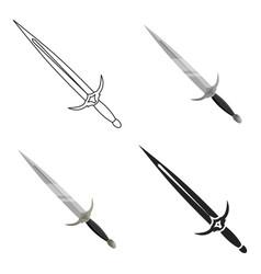 one-handed sword icon cartoon single weapon icon vector image