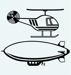Helicopter and dirigible vector image vector image