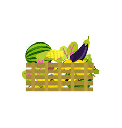 wooden box with fruits and vegetables icon vector image vector image