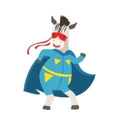 Zebra Animal Dressed As Superhero With A Cape vector image
