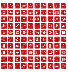 100 disabled healthcare icons set grunge red vector image