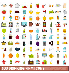 100 drinking firm icons set flat style vector image