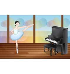 A ballerina dancing near the piano inside the vector image