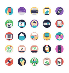 a pack of internet flat icons vector image
