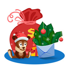 a puppy a bag gifts and an envelope with fir vector image