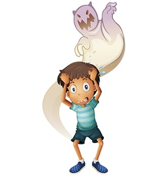 A scared boy with ghost at the back vector