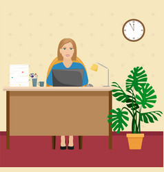 a woman in the office at the desk with a pile of vector image