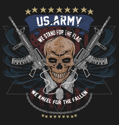 america us army skull usa american soldier with w vector image