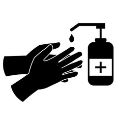 Apply hand sanitizer black pictograph icon eps vector