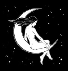 Beautiful witch girl girl sitting on moon vector