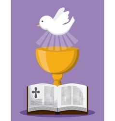 bible dove cup gold religion icon graphic vector image