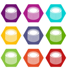 Building roll net icons set 9 vector