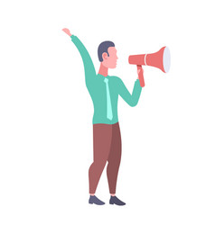 businessman holding loudspeaker business man vector image