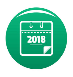 calendar new year icon green vector image