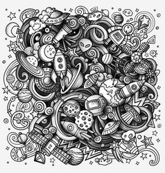 cartoon doodles space toned vector image