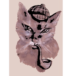 Cat with tobacco pipe vector