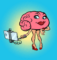 Character brain woman selfie stick photo vector