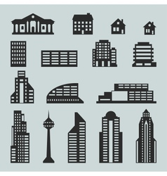 Cityscape icon set of buildings vector