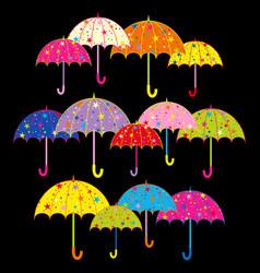 colorful umbrella on black background vector image