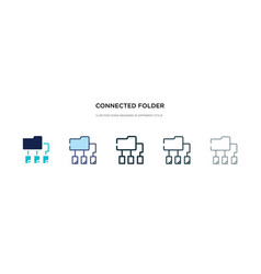 connected folder data icon in different style vector image