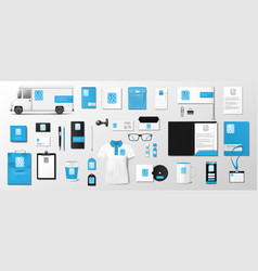 corporate identity template design blue and black vector image