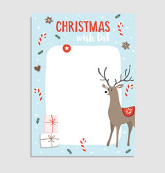 Cute christmas greeting card wish list reindeer vector