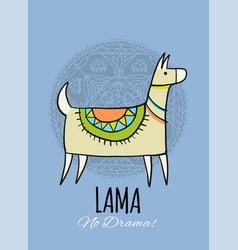 cute lama character greeting card for your design vector image