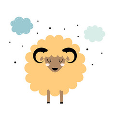 Cute sheep with stars and clouds isolated vector