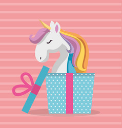 Cute unicorn with gift kawaii character birthday vector