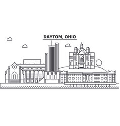 dayton ohio architecture line skyline vector image