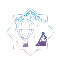 Degraded line air balloon with party flags inside vector
